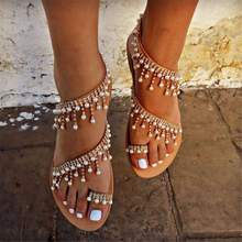 Women sandals summer flat pearl sandals flip flops rome shoes string bead slippers mujer gladiator sandalias sapatos femininos