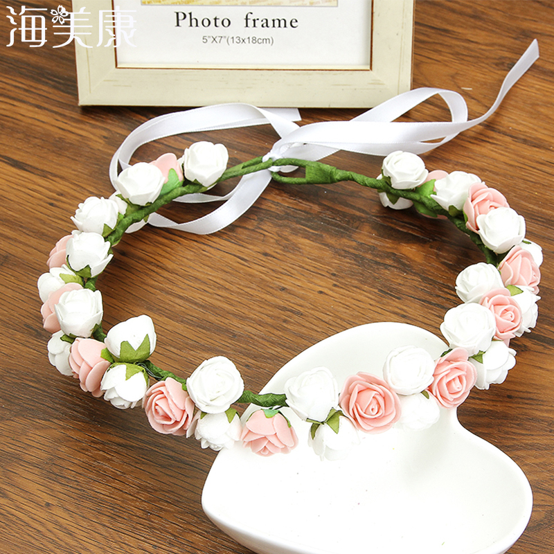 Haimeikang Girl Rose Hair Accessories Boho Wreath Flower Hairband Vacation Bridal Floral With Lace Up Lady Headband   Headwear