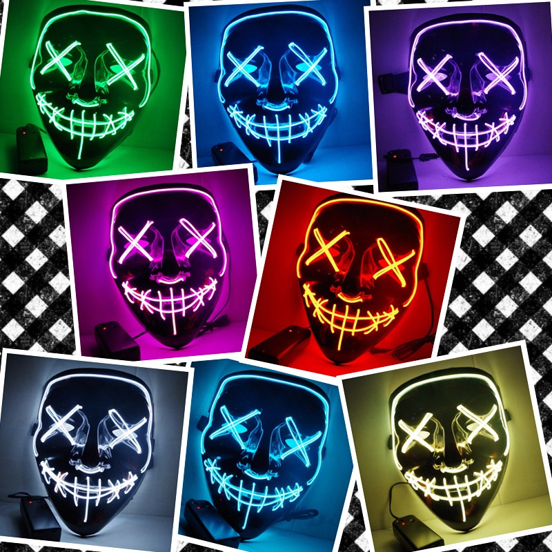 2018 Halloween Mask LED Light Up Party Masks The Purge Election Year Great Funny Masks Festival Cosplay Costume Glow In Dark