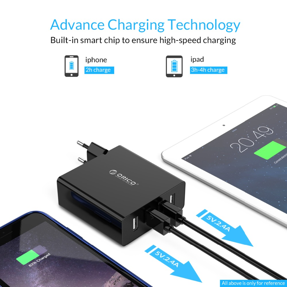 Image 2 - Orico 4 Port Universal Travel Wall USB Charger Adapter Mobile Phone Charger 5V/2.4A(30W Max) for iPhone x 7 8 Samsung Android-in Mobile Phone Chargers from Cellphones & Telecommunications