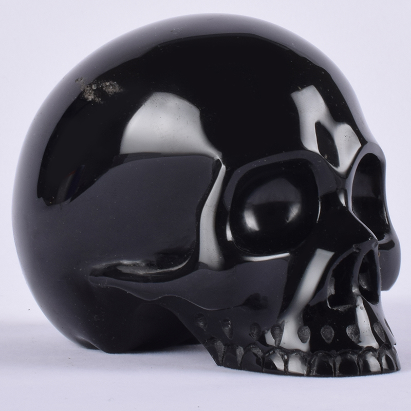 Black Obsidian Skull 4 Inch 541g Pacific Giftware Crystal Human Head Figurine Gemstone Carving Reiki Ornament Art Collectible Statues & Sculptures     - title=