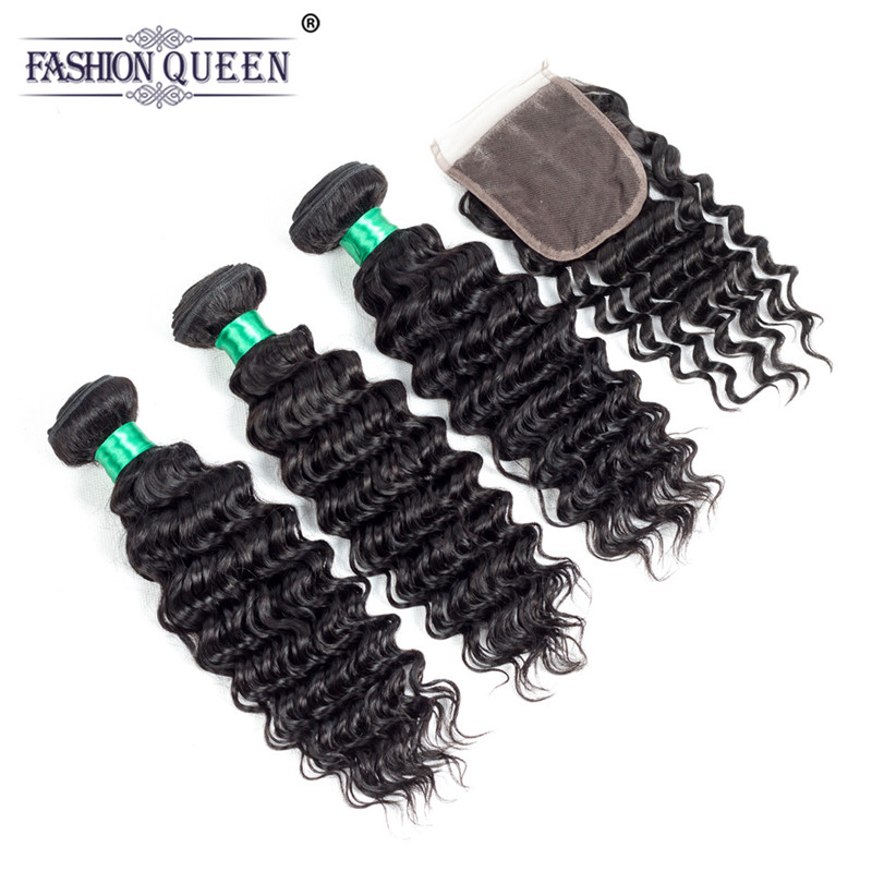 Fashion Queen 3 Bundles Malaysian Deep Wave With Closure Deep Curly 100% Human Hair With 4*4 Free Middle Three Part Lace Closure