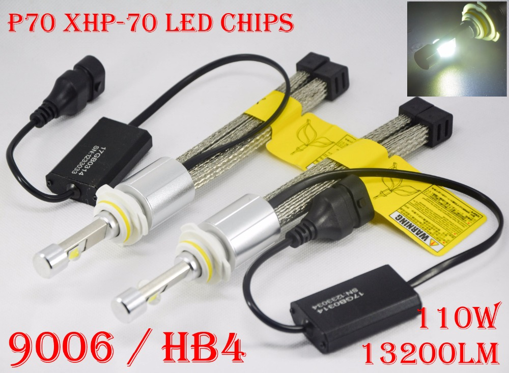 1 Set P70 LED Headlight 110W 13200LM LED Headlight XHP-70 Chips 4LED - Lampu mobil - Foto 5