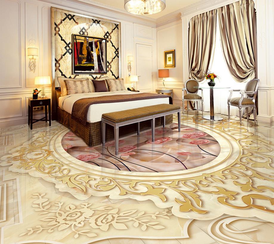 custom 3d floor wallpaper waterproof-wallpaper-for-bathroom Marbling pattern 3d floor murals pvc self adhesive wallpaper