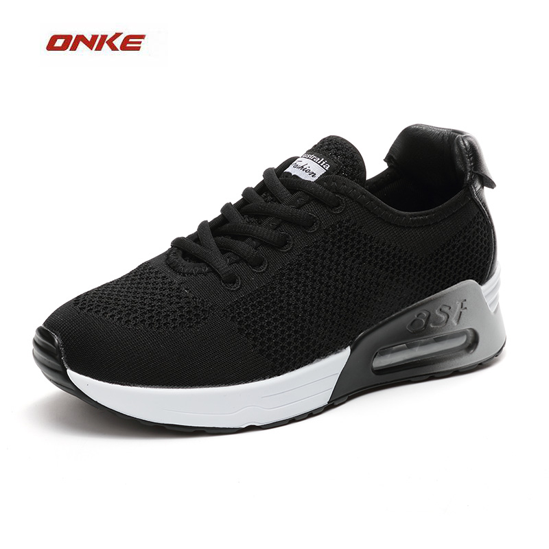 ONKE Woman Sports Running Shoes Heavy Bottom With Air Max Black Color Sneaker Height Increasing Outdoor Walking Sneaker Shoes