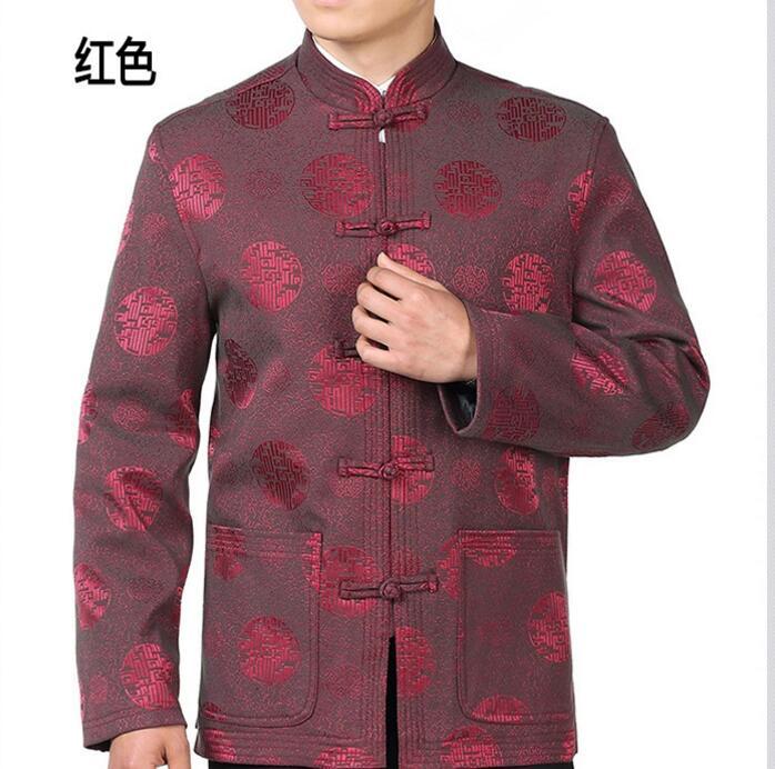 Estilo chinês vestido de noiva traje masculino novo e melhorado Longo mangas compridas Camisa Juventude casaco novo noivo dos homens Hanfu vermelho festivo casaco - 4