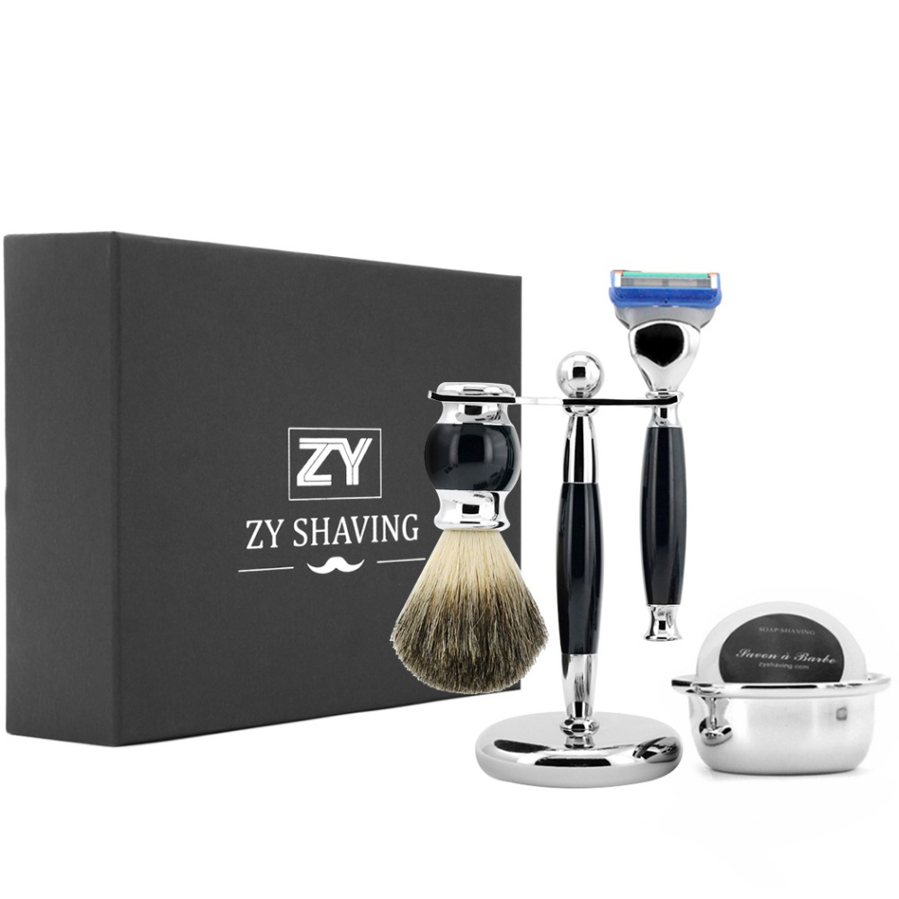 Men's 5 Shaving Razor Holder Resin Handle Safety Razor Set+Badger Shaving Brush+Razor Stand+Shaving Soap Bowl Gift Box Packaging