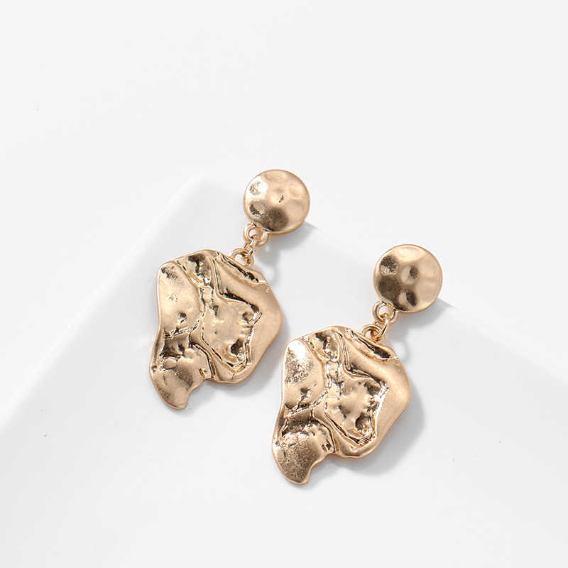 Yhpup トレンディ亜鉛合金ヴィンテージ不規則なブラブライヤリング幾何学的な金属ゴールドイヤリングステートメントジュエリーオフィスのギフト