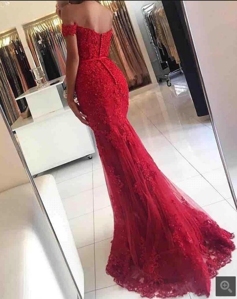 Robe De soirée sirène rouge Robe De soirée en dentelle Robe formelle rouge robes De bal hors épaule perlée longues robes De soirée 2019 en vente