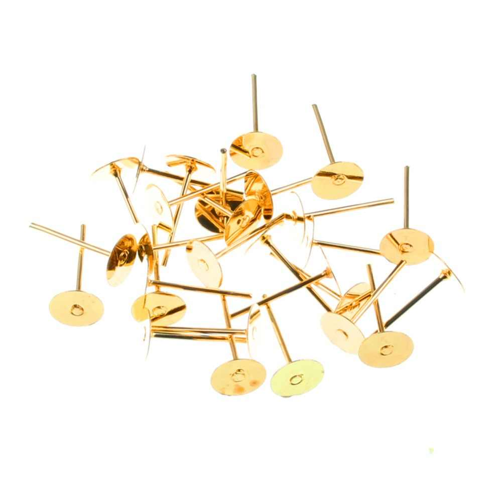 100pcs Sliver/Golden/White K/Bronze/KC Gold Stud Earrings Fashion For Women Party Gift DIY Jewelry Making Decoration Accessories