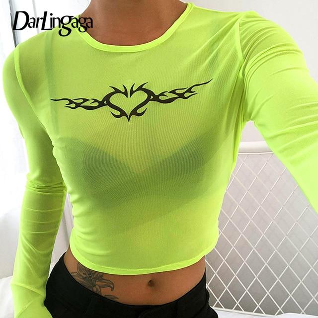 64112b0c758 Darlingaga Casual camiseta de malla Mujer Transparente superior harajuku manga  larga Mujer Camiseta verde fluorescente tops
