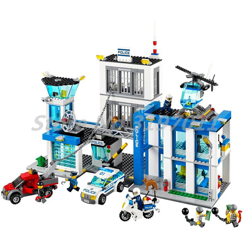 City Police Station Model Motorbike Helicopter Building Block Bela 10424 Model Kids Gifts Toys For Children compatible lepin city block police dog unit 60045 building bricks bela 10419 policeman toys for children 011