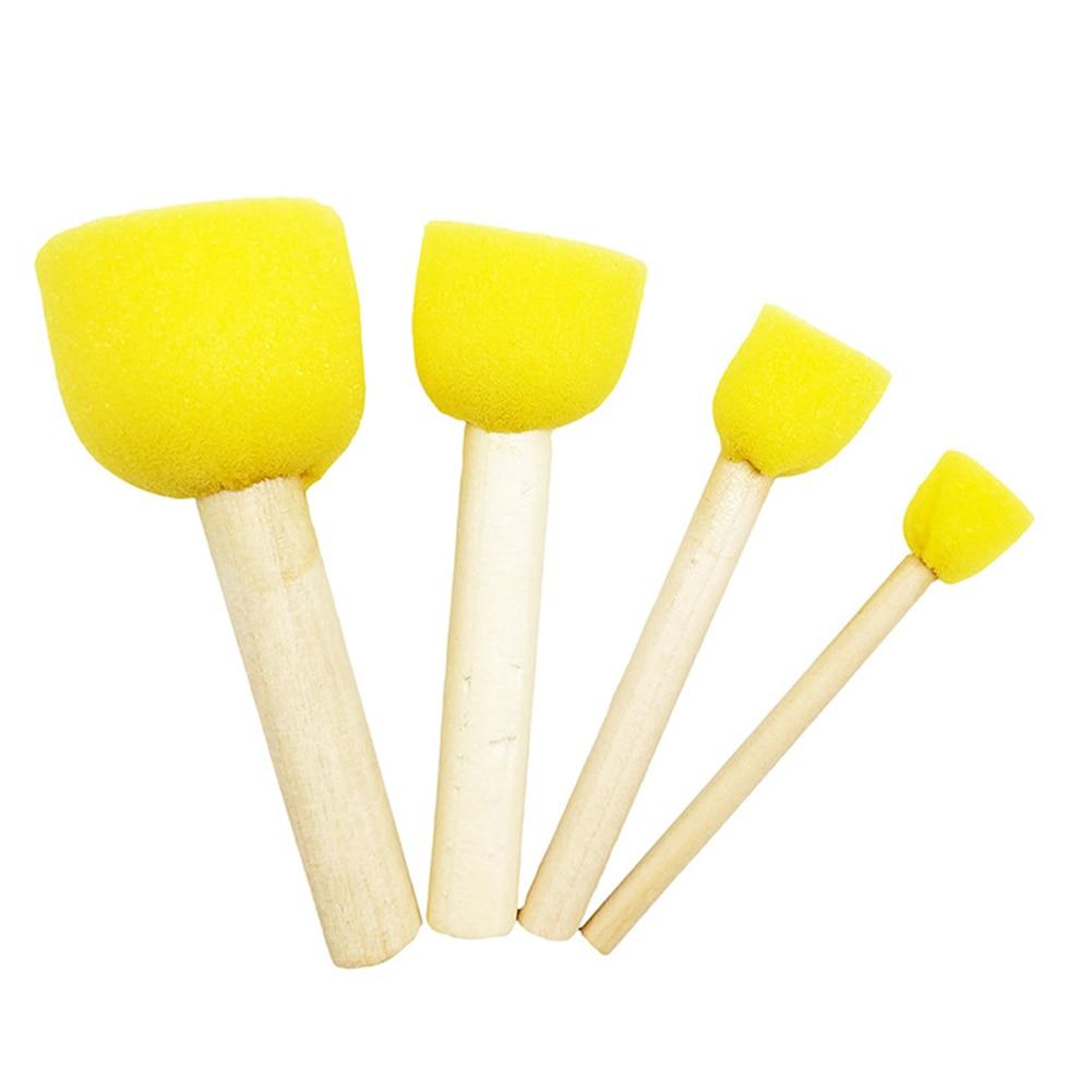 4 Pcs Round Painting Drawing Wood Handles Toys Gift For Children Sponge Paint Brush Graffiti