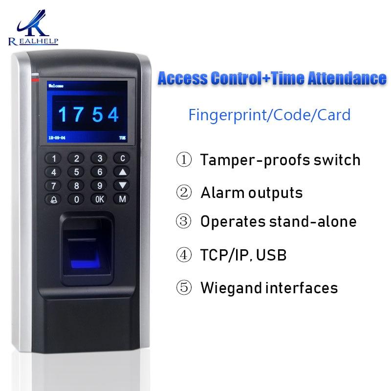 Более дешевое устройство контроля доступа по отпечаткам пальцев TCP IP Служба учета рабочего времени с контролем доступа F8 Клавиатура RFID Биометрический доступ