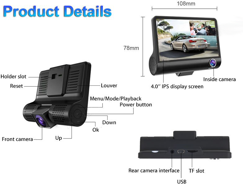 лучшая цена AKASO Three Cameras DVR Recorder Dual Lens 4'' HD 1080P Vehicle Car Dash Cam Rearview Mirror Night version Car DVR Camera