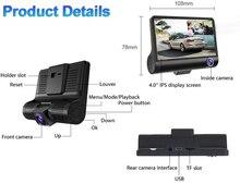 AKASO Three Cameras DVR Recorder Dual Lens 4 HD 1080P Vehicle Car Dash Cam Rearview Mirror Night version Camera