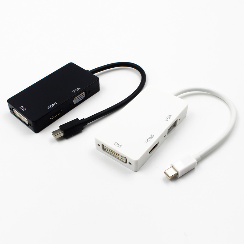 3 in 1 Mini Display Port DP Thunderbolt to DVI+VGA+HDMI Adapter for MacBook Pro Black and White цена и фото