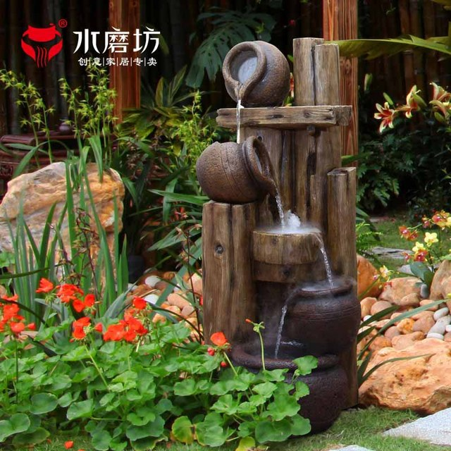 Large Lucky Ornaments Crafts Garden Water Fountain Pond Water Waterscape  Crock Decorative Jar Creative Furnishings