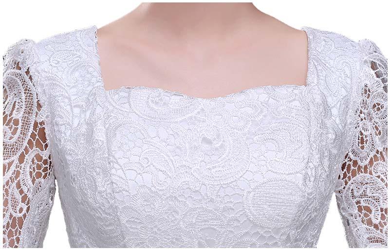 Femmes adultes dames longues occasionnels noir anniversaire robes robe de soirée pour mère de la robe de mariée automne avec manches H2727 - 4
