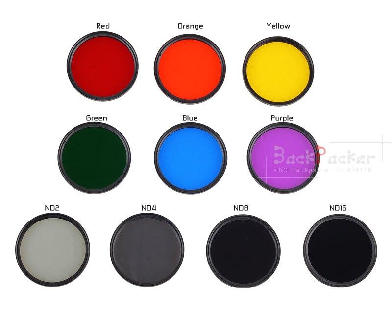 Nouvelle caméra filtre 40.5 43 46 49 52 55 58 62 67 72 77 82 mm rouge Orange jaune vert bleu violet ND2 4 8 16