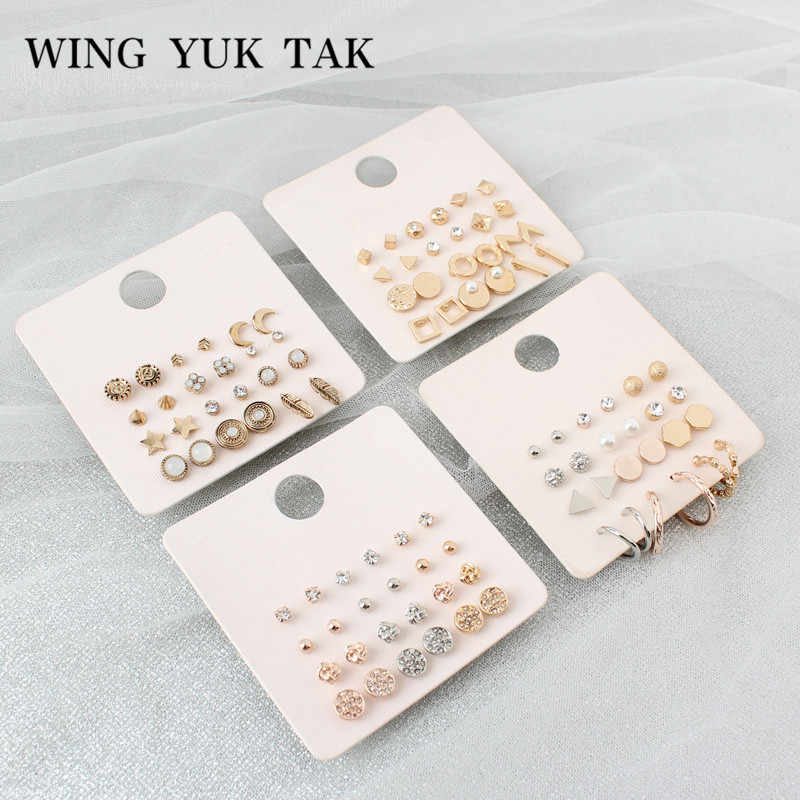 12 Pair/Set Alloy Star Moon Leaves Stud Earrings for Women Fashion Simulated Pearl Geometric Gold Color Vintage Earrings Set