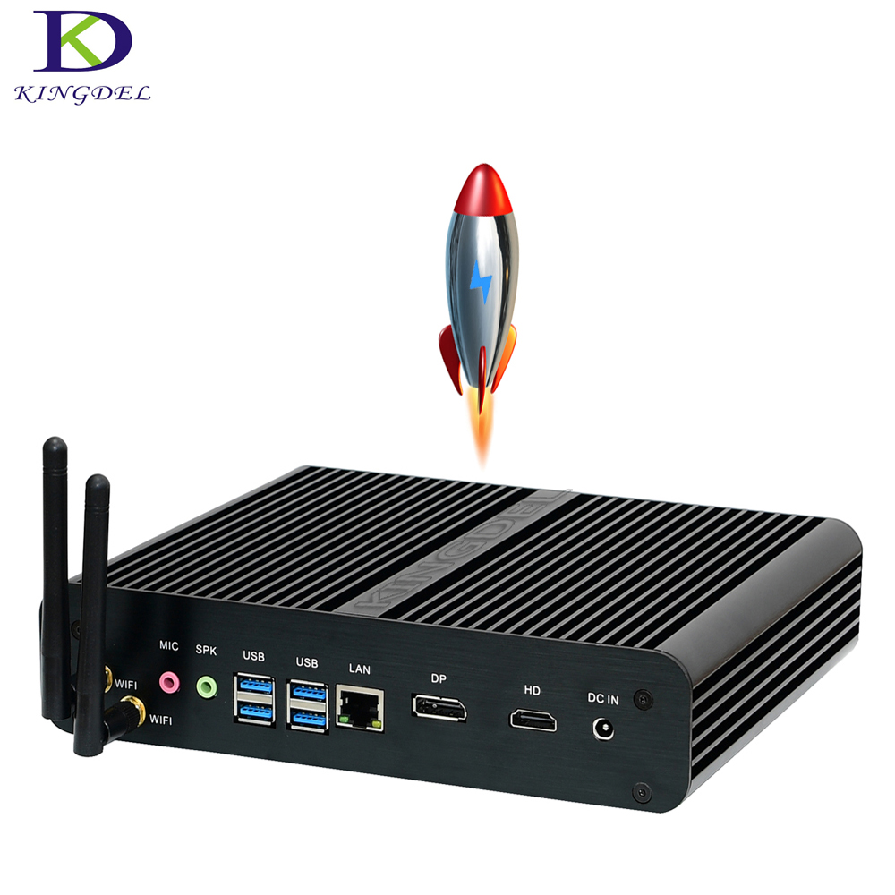 2017 Kingdel  New Fanless  Mini PC Kaby Lake i7 7500U micro desktop PC Intel HD Graphics 620 4K HTPC  8G RAM+256GB SSD+1 HDD