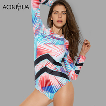 AONIHUA 2018 New One Piece Swimsuit for Women striped Long sleeve Swimwear female print Push up swimming Suit 9002