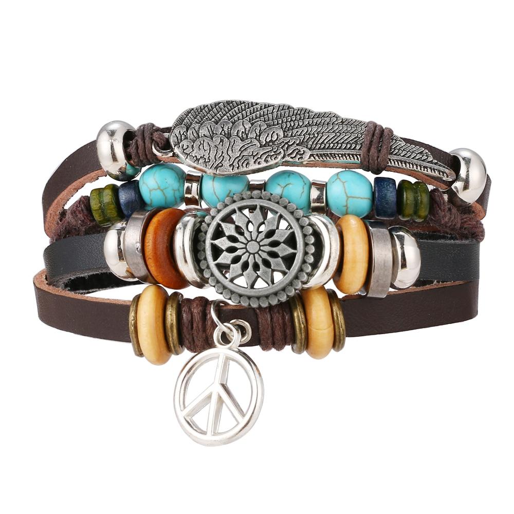 FAMSHIN BOHO Tibet Stone Feather Multilayer Leather Bracelet Eye Fish Charms Beads Bracelets for Men Vintage Punk Wrap Wristband