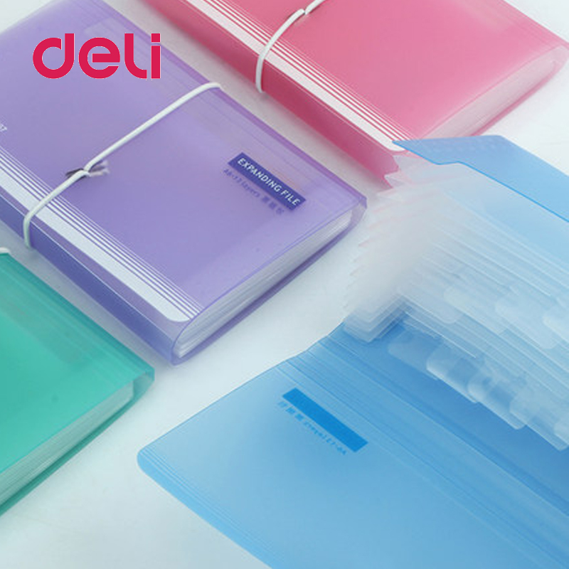 Deli 1pcs File Folder Organ Bag A6 Organizer Box Paper Holder Document Folder Multi-function Storage Finishing Office Supplies