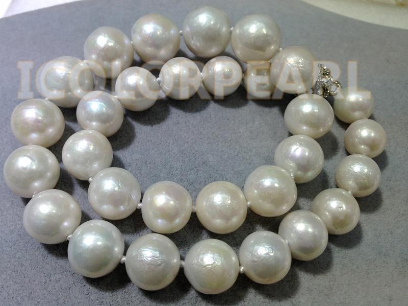 Les meilleurs bijoux pour dames! Plus grand collier de perles d'eau douce naturelles de culture blanche ronde de 12-16mm. - 2