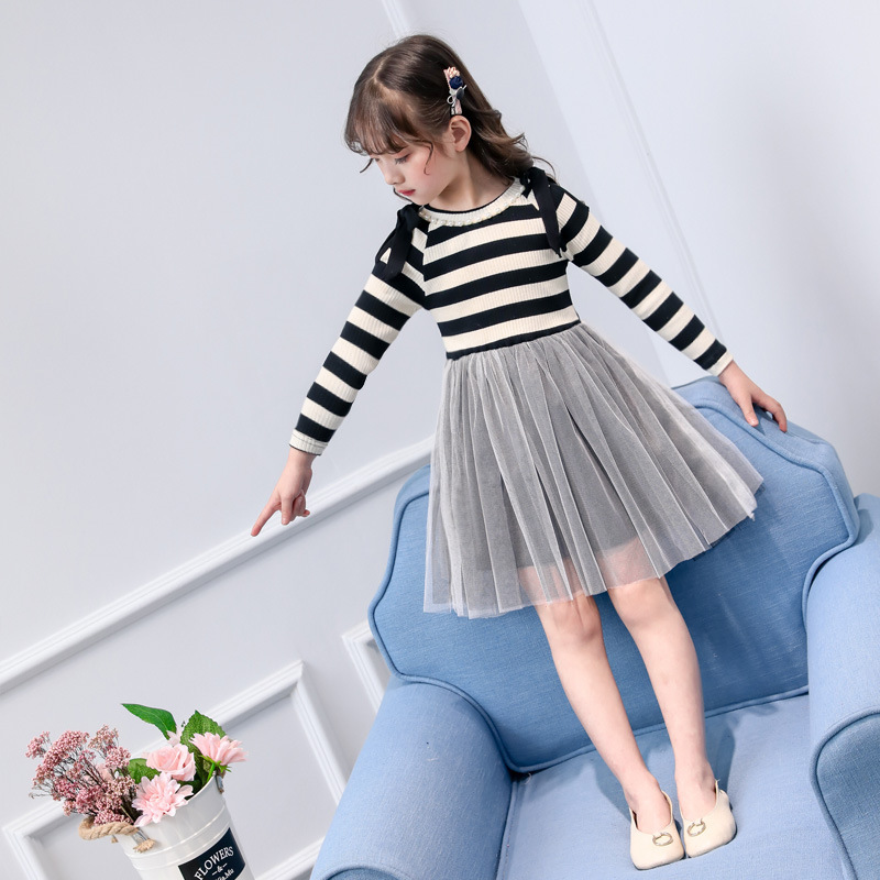 Striped Girls Casual Dress Spring 2018 Princess Dress For Girls 4 5 6 7 8 9 10 11 12 13 Years Kids Clothes Vestidos Infantil girl dress autumn white long sleeved clothes korean cotton size 4 5 6 7 8 9 10 11 12 13 14 years kids blue lace princess dress