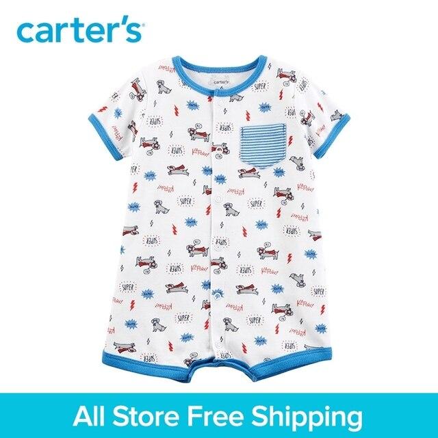 2991d8cdfa50 1pcs Super Dog Striped pocket Snap Up Short sleeves Cotton Romper ...
