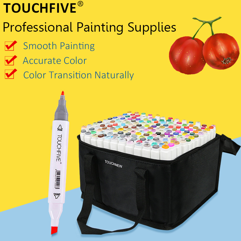 TOUCHFIVE 30/40/60/80/108/168 Colors Art Markers Pen Alcohol Based Markers Dual Head Manga Drawing Pens Art Supplies