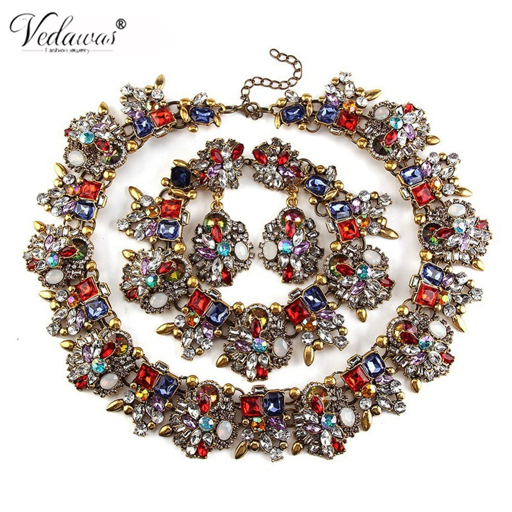 Vedawas Fashion Statement Jewelry Sets Multicolor Crystal Rhinestone Choker Necklace Bracelets Earrings Sets for Women XG2201 graceful rhinestone choker necklace for women