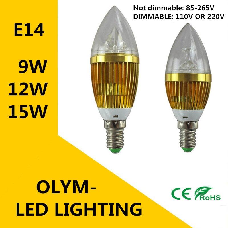 Свет свечи E14 9 Вт 12 Вт 15 Вт E14 затемнения 110 В 220 В светодиодные лампы холодный белый/теплый белый CE ROHS