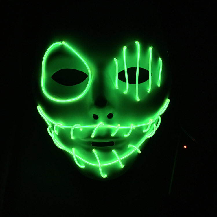 2017 Hot Selling Light Up Flash El Wire Fashion Dance Party Mask Led Glowing Beauty Christmas Ball Party Mask Hip Hop Dance Mask