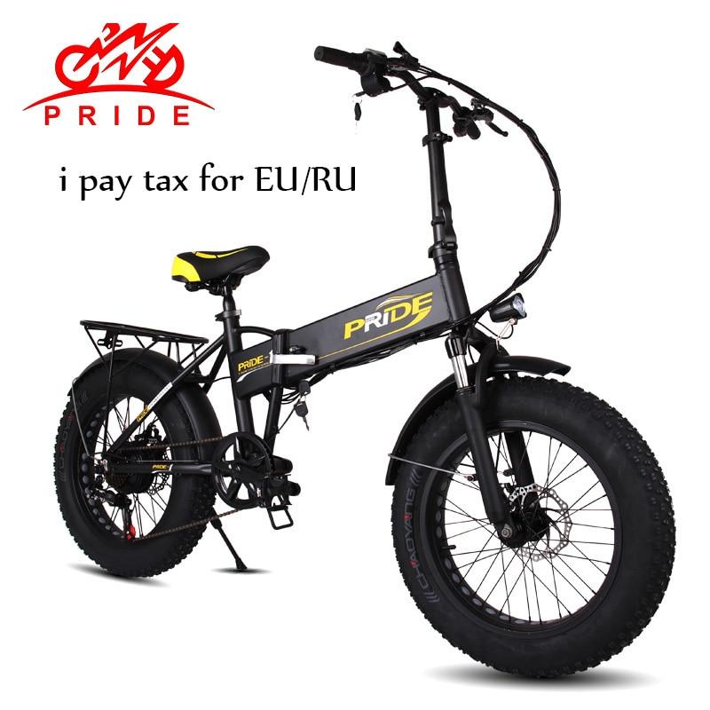 FIERTÉ vélo électrique 20 En Aluminium vélo électrique pliable 48V12. 5A 350 W 6 Vitesse Électrique Fat Tire ebike De Montagne livraison gratuite