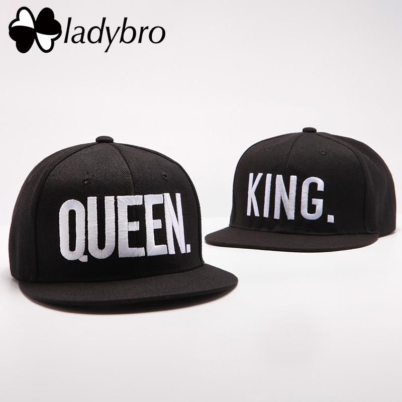Ladybro Lovers Letter Hip Hop Cap Mujeres Hombres Sombrero Cap King. Reina. Gorra Masculina Femenina Snapback Street Bone Brand Gorra De Béisbol Negra