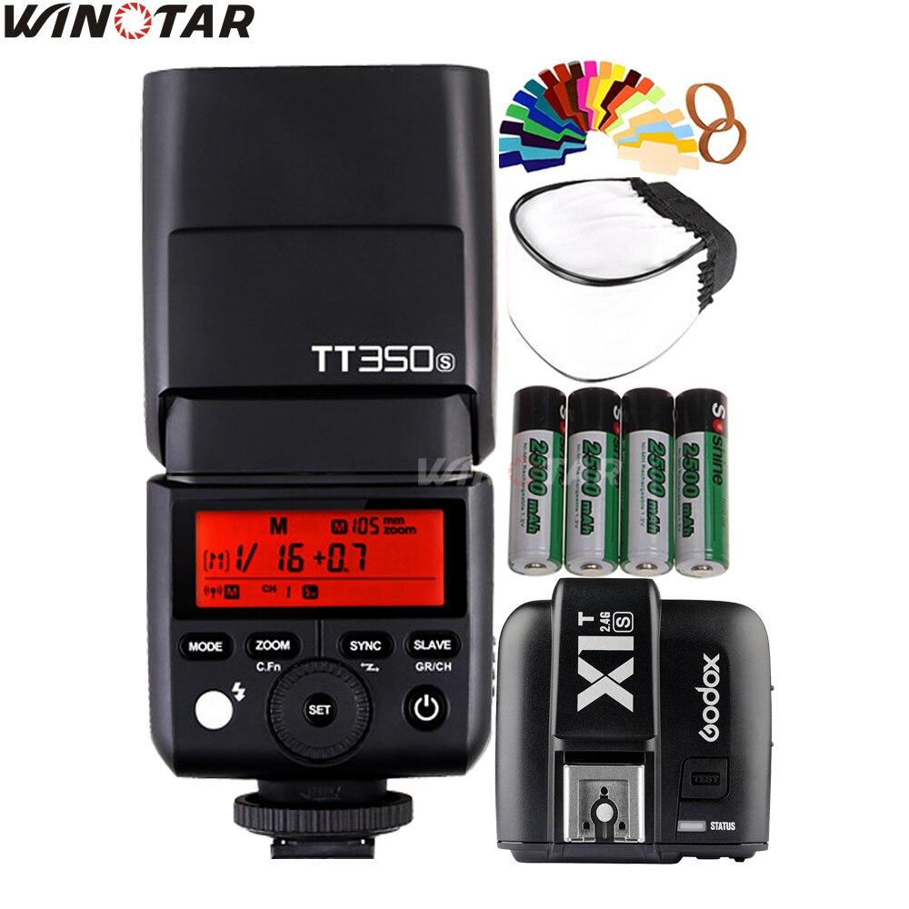 Godox Mini TT350S Camera Flash TTL Speedlite HSS + X1T-S Trigger + 2x2500 mAh Batteria per Sony A77II A7RII A7R A7000 A6500 A6300