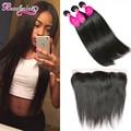 7A Malaysian Straight Hair With Closure 3 Bundles With Frontal Straight Virgin Hair Ear To Ear Lace Frontal Closure With Bundles
