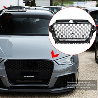 For RS3 Quattro Style ABS Front Sport Hex Mesh Hood Grill Gloss Black Universal for Audi A3 S3 8V 2013 2014 2015 2016