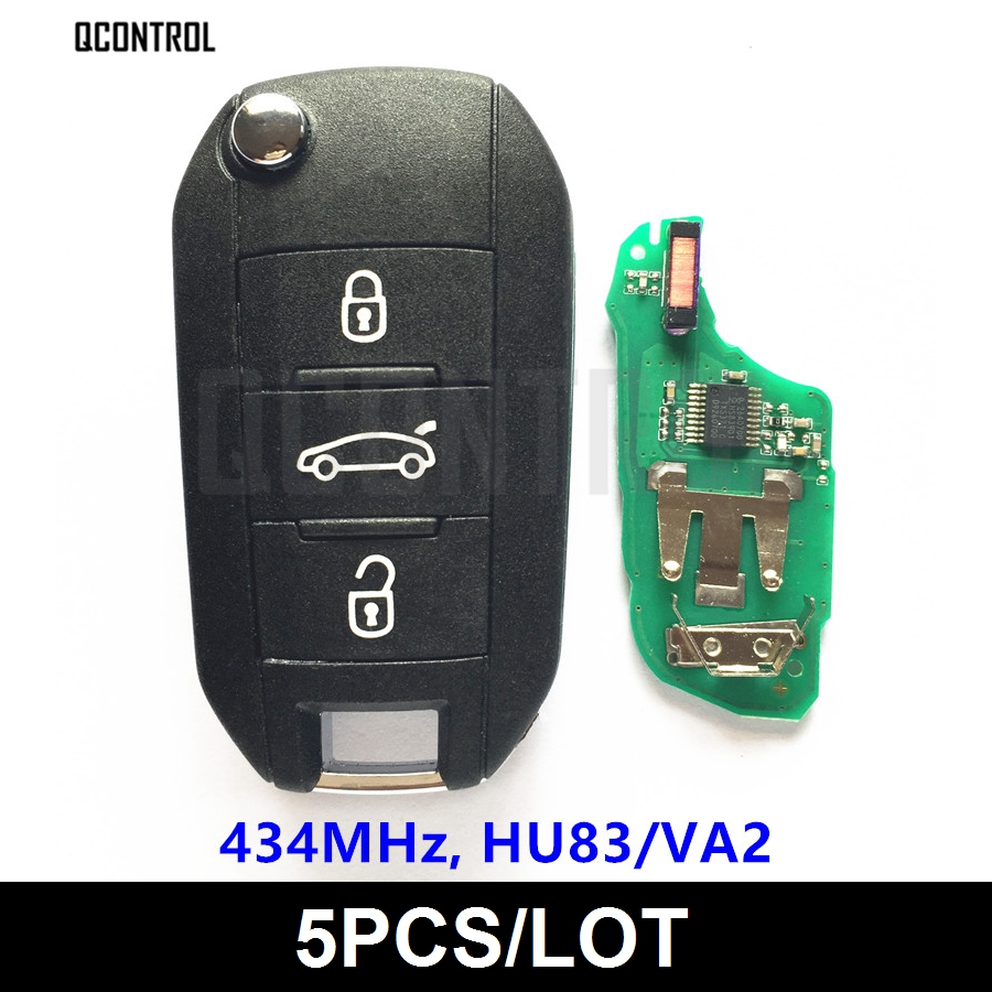 QCONTROL Car Remote Key for Peugeot 208 2008 301 308 508 Hella 434MHz HU83 or VA2