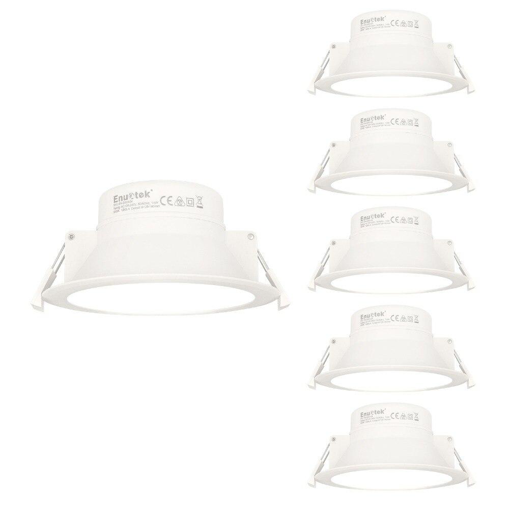 14 W LED plafonniers encastrés plafonniers blancs IP44 pour salle de bains 5000 K blanc froid haute luminosité 1200Lm trou Dia 120 MM