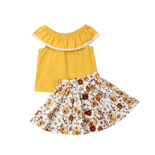 Cute Toddler Infants Baby Girls Clothes Kids Off Shoulder Tops + Dress Summer Skirt Outfit Clothes 2PCS Casual Girl Clothing Set kids toddler girl summer clothing set ruffle off shoulder t shirt top bow skirt tutu dress stripe baby clothes outfit