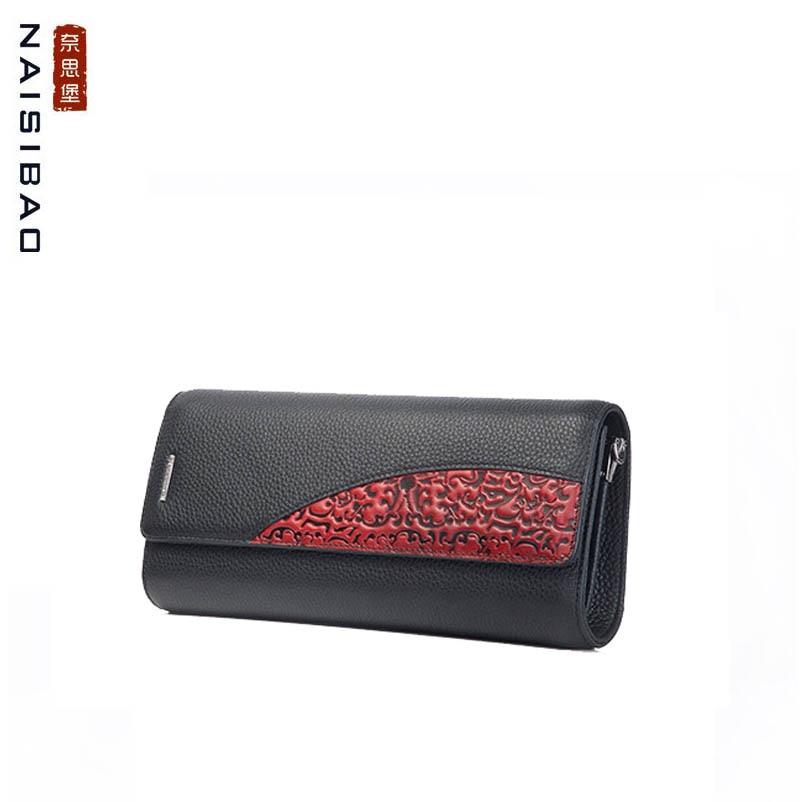 цена на NAISIBAO 2018 New women genuine leather wallets designer fashion embossing womens clutch bag leather Luxury Dinner Bag