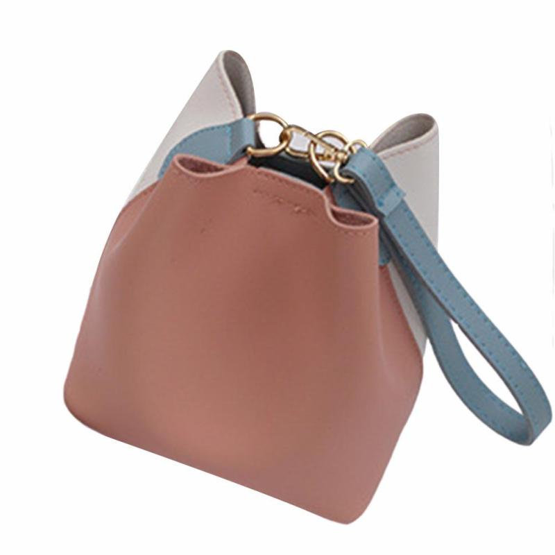 Hit Color Pu Leather Women Bucket Handbag Patchwork Hasp Small Cross Body Bag for Teenage Girls Korean Style Shoulder Bags 3