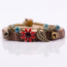 Women's Flower Leaf Ceramic Hand Made Strand Bracelet