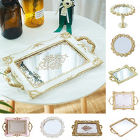 Nordic Style Metal Cosmetic Storage Tray Golden Fruit Plate Small Items Jewelry Display Retro Engraving Tray Mirror