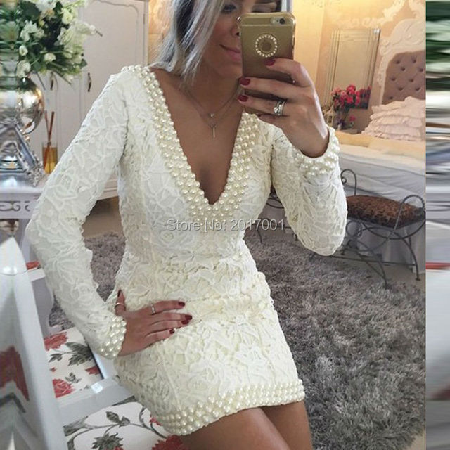 2016 Sexy Deep V Neck Lace Cocktail Dresses Mermaid Long Sleeves Pearls Custom Made Backless Dresses Formal Party Gowns