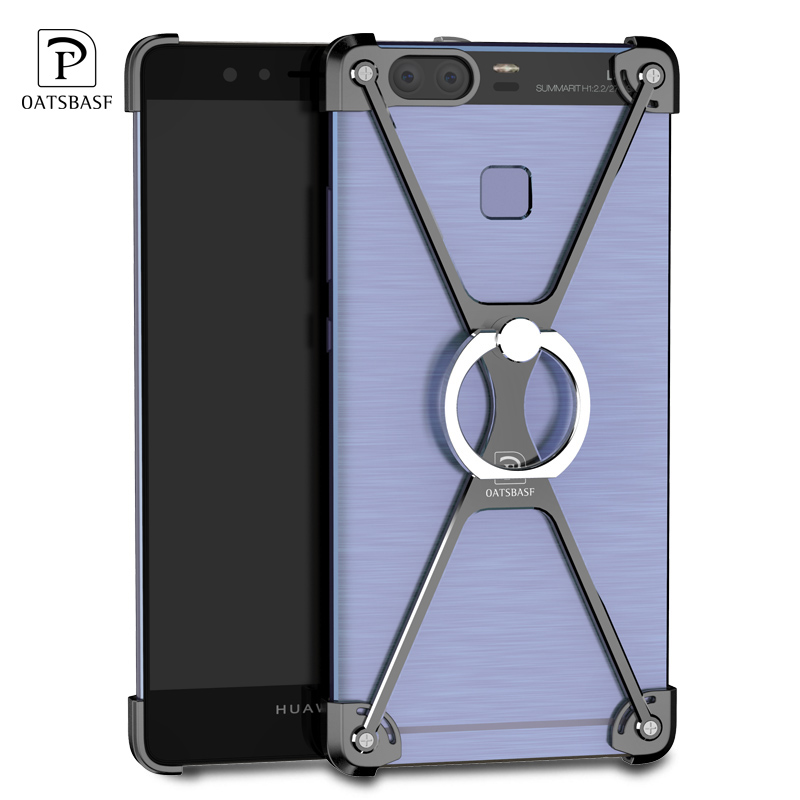 X Shape Ring Bracket Case For Huawei P9 / P9 Plus Luxury Personality Shell For Huawei P9 Metal Border & Ring Holder 360 Degree
